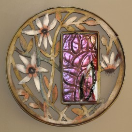pink molded glass with clematis